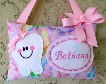 Tooth Fairy Pillow  Butterflies Girl Toothfairy Glittering Sparkles