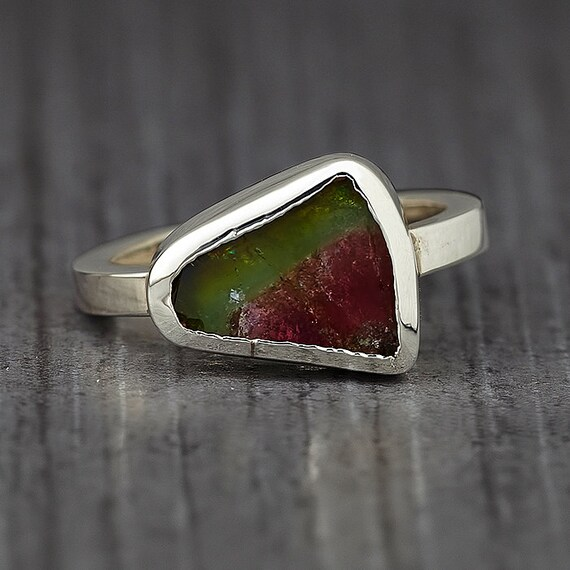 Watermelon Tourmaline Silver Ring - Engagement Ring
