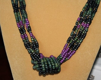 Necklace of Six Incredible Strands of Green, Purple, Black and Silver Beads Mother's Day gift Christmas gift Birthday Resort Cruise Wear