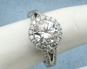 1/3 cttw Diamond Halo Engagement 14k White Gold Semi-Mount ,size 6.75, SKU R-1705