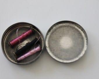 Vintage Antique Small Tin with Three Metal Spools Thread