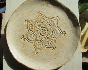Stamped Ceramic/Terracotta Plates: Mehndhi/Henna Design in Teal or Sand - Tapas, Dessert , Candle Plate, Trinkets, Jewelry; Wedding Gift