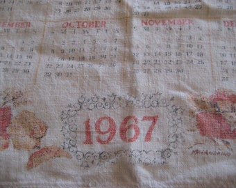 1967 calendar towel, McGrath, dish towel