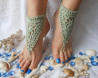 Crochet Barefoot Sandals Beach Wedding  Yoga Shoes Foot Jewelry Green Mint