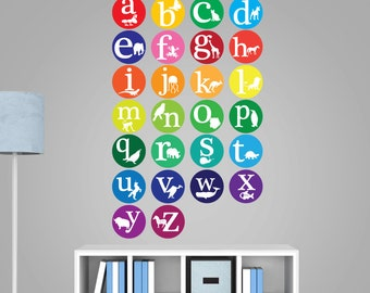 Alphabet Wall Decals - Animal Alphabet Decal - Nursery Wall Decal - Learning Alphabet - Alphabet Learning Set - Learning The Alphabet