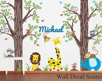 Nursery Wall Decal - Animal Wall Decal - Monogram Wall Decal