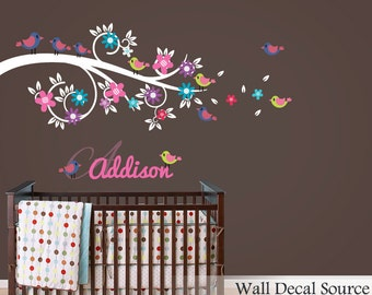 Floral Branch Wall Decal - Bird Wall Decal - Wall Monogram Decal