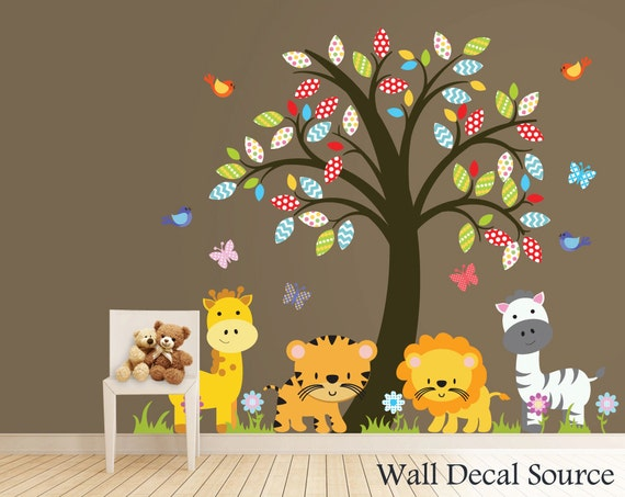 Nursery Tree Decal Zoo Animals Wall Decal Jungle Animal