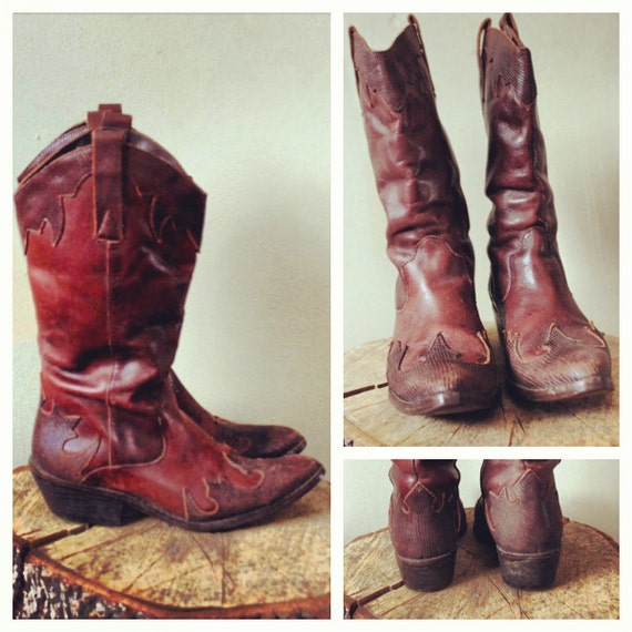 Brown Leather Cowboy Boots with Flame Design Women's Size 6