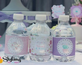 Tea Party Water Labels