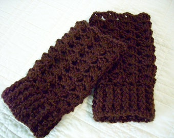Crocheted Fingerless Gloves Dark Brown
