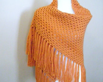Crocheted Orange Granny Stitch Triangle Shawl / Wrap / Scarf