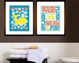 "Childrens Kids Bathroom Art Prints Set of (2) 11"" x 14"" Fine Art Home Decor Glass Yellow Coral Rain - UNFRAMED"