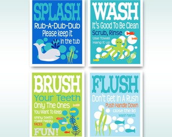 "Childrens Kids Bathroom Art Prints Set of (4) 5"" x 7""  - Blue Lime Orange -Modern Kids Bathroom"