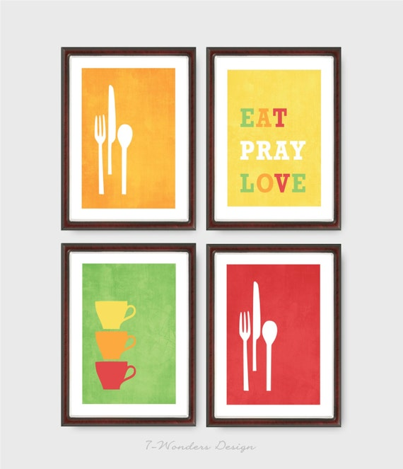 Purple And Yellow Kitchen Wall Art Unframed Kitchen: Items Similar To Modern Kitchen Wall Art Print Set