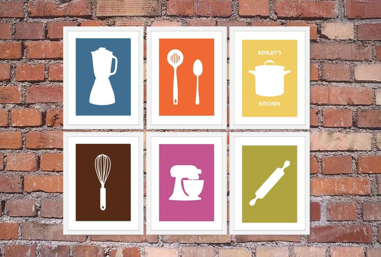 Modern kitchen art print set utensil appliance silhouettes for Art prints for kitchen wall