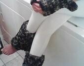 Camouflage Crochet Ruffled Leg Warmers and Fingerless Ruffled Gloves Set