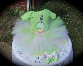 Custom made Boutique Pageant 3pc Cupcake candle / Birthday tutu set with matching bottlecap hairbow size 12m