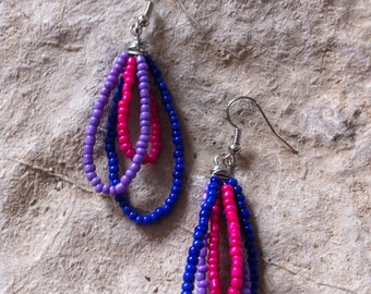Pink Purple & Blue Drop earrings
