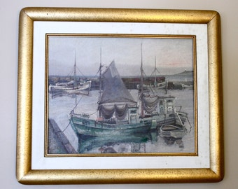 SALE - Vintage Framed Oil Painting, Harbor Scene with Boats, Danish