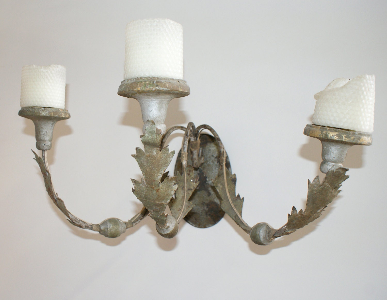 Pair of Italian Metal and Wood Sconces Gray by AVintageFix on Etsy