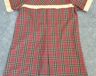 Vintage Girl's Dress 1960's School Girl Dress 60's Red Plaid Shift Permanent Press Size 8