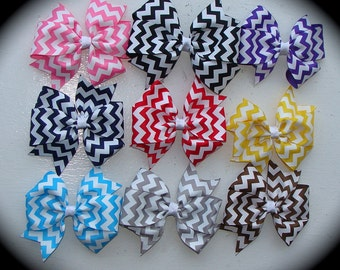 FIVE 4 inch double loop chevron hair bows on an alligator clip