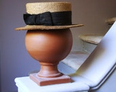 Vintage antique french canotier straw hat  and silk