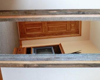 Reclaimed Barnwood Full Length Standing Beveled Mirror