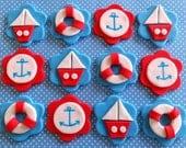 Dozen fondant nautical themed cupcake topppers, fondant lifesaver, fondant sailboat, fondant anchors,nautical baby shower,sea life birthday