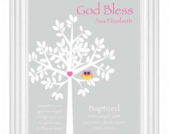 Christening Gift -Baptism Gift -Baby Personalized Print -Name Wall Art for Nursery-other colors available
