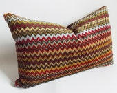 Velvet Lumbar Pillow Cover Decorative Pillow 12'' x 20'' Chevron Striped Lumbar Pillow Throw Pillow Cover
