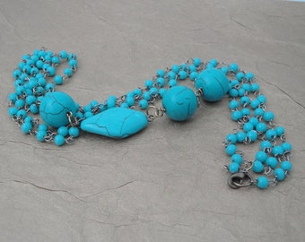Asymmetrical Multistrand Chain Necklace with Turquoise Beads - ON SALE - 50% OFF