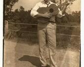 Handsome Guitar Man Vintage Photo Musician