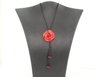 Elegant rose necklace, adjustable polymer clay rose necklace,  bolo tie, red and orange necklace, maroon red orange and white flower