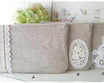 Linen zip pouch purse with lace cosmetic makeup travel pouch natural Zakka style