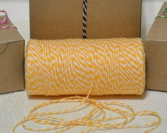 25 yards Bakers twine yellow daffodil/white 4ply cotton for tags packaging scrapbooking cards banners clearance sale