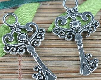 30pcs tibetan silver color key design charms EF0209