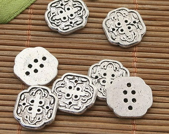 35pcs dark silver tone 13mm spacer beads h3933