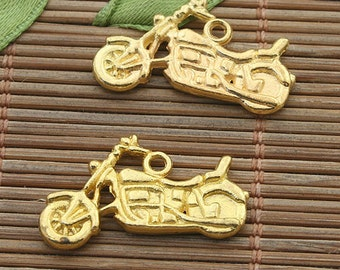 20pcs gold tone Motorcycle pendant charm h3977