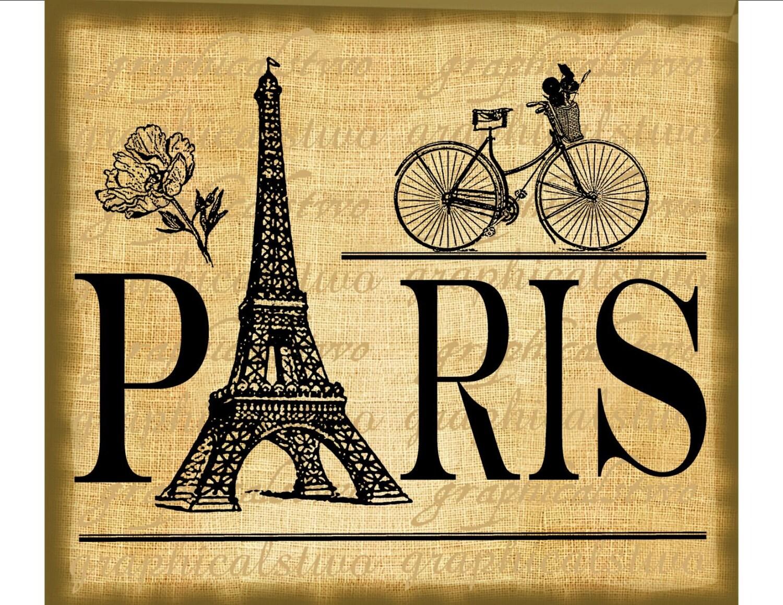 Paris sign Eiffel Tower bicycle flowers digital by