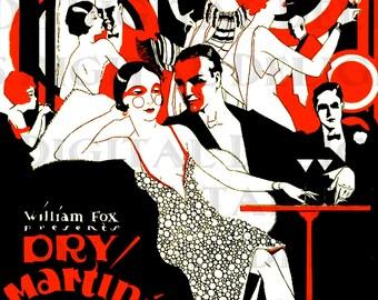 Dry MARTINI. Vintage Flapper LLUSTRATION.  Art Deco Movie Poster Download. Movie Poster Digital Print.