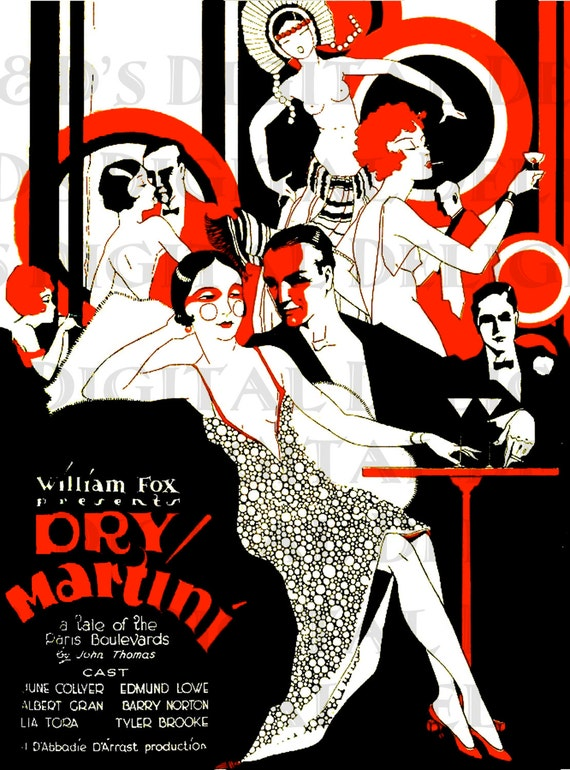 Dry Martini Vintage Flapper Llustration Art Deco Movie