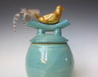 Ceramic Covered Jar, Bird fetish, Gold Leafed Bird, Ceramic Jar with Bird Sculpture, Container, Handcrafted, Covered Jar