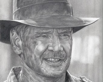 Drawing Print of Harrison Ford as Indiana Jones in Kingdom of the Crystal Skull