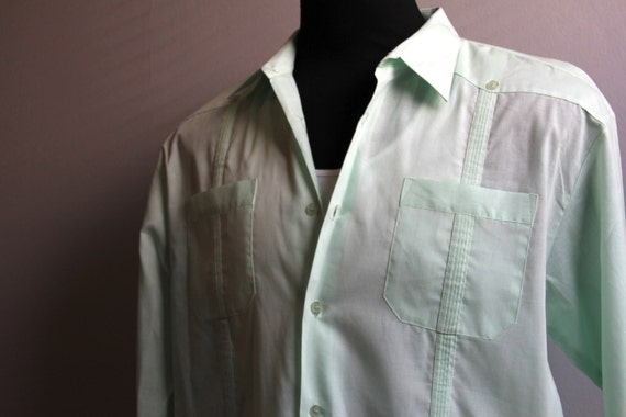 1980's Lime Green Guayabera Long Sleeve Monzini XL Mens Shirt