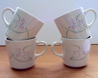 Four Corning NY Coffee/Tea Mugs - Wild Rose Pattern