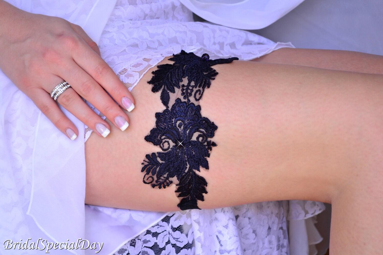 Bridal Garter Dark Blue Wedding GarterBlue Lace