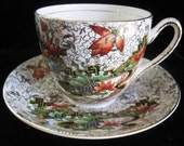 1930s ART DECO Asian influence Teacup Saucer Thomas Forester and Sons Phoenix Ware Hand Decorated Painted