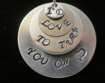 """Beatles lyrics """"I'd Love To Turn You On"""" on 4 different round blanks, with ball chain"""
